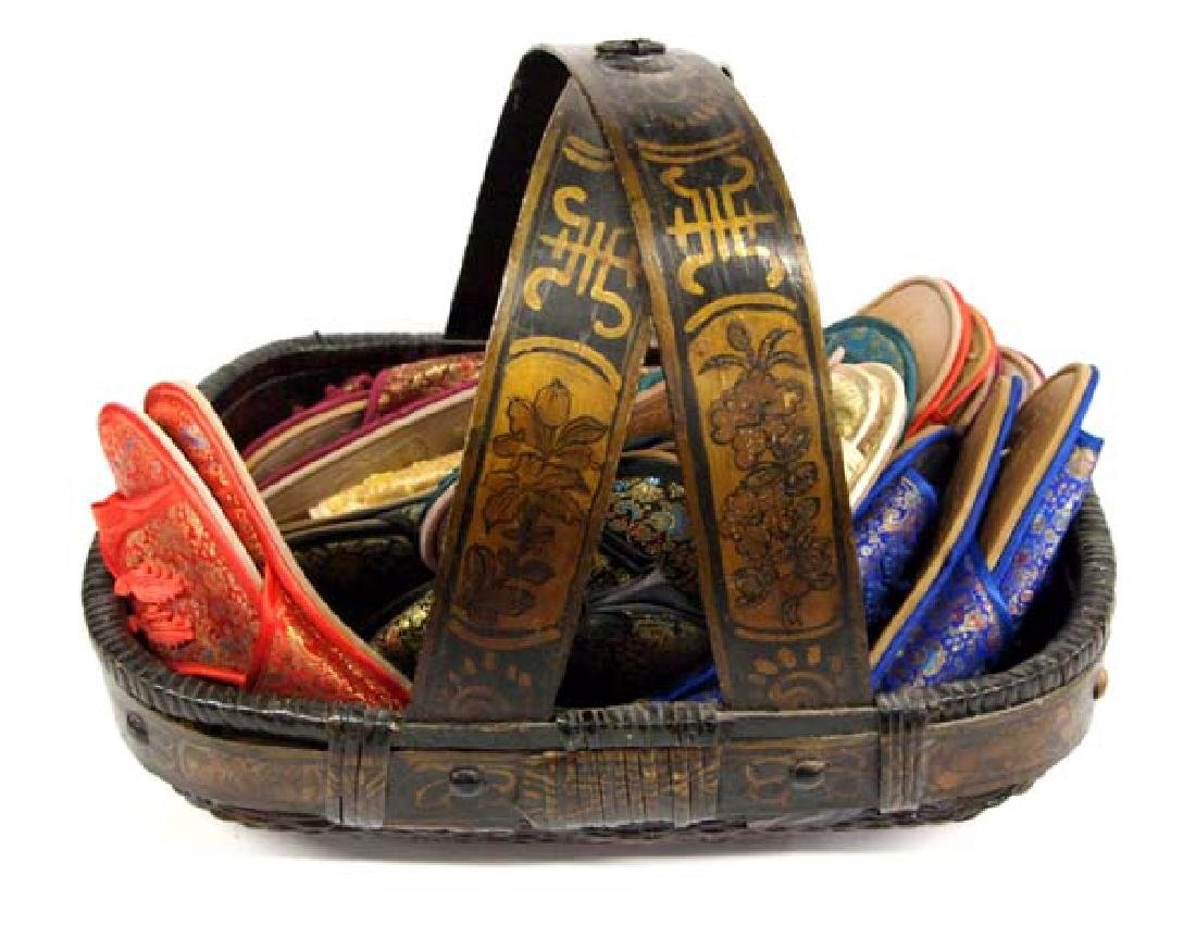 Large Hand Painted Oriental Basket and Slippers