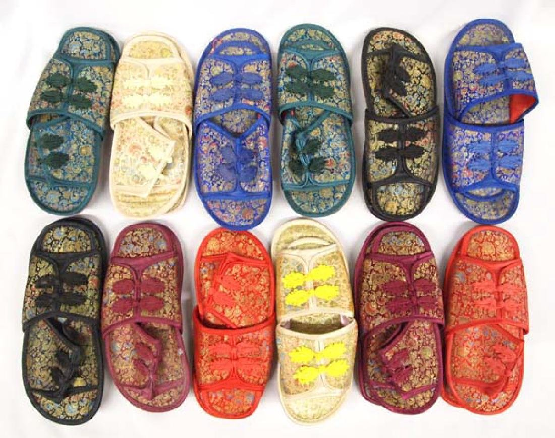 Large Hand Painted Oriental Basket and Slippers - 2