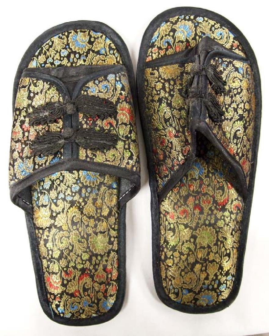 Large Hand Painted Oriental Basket and Slippers - 3