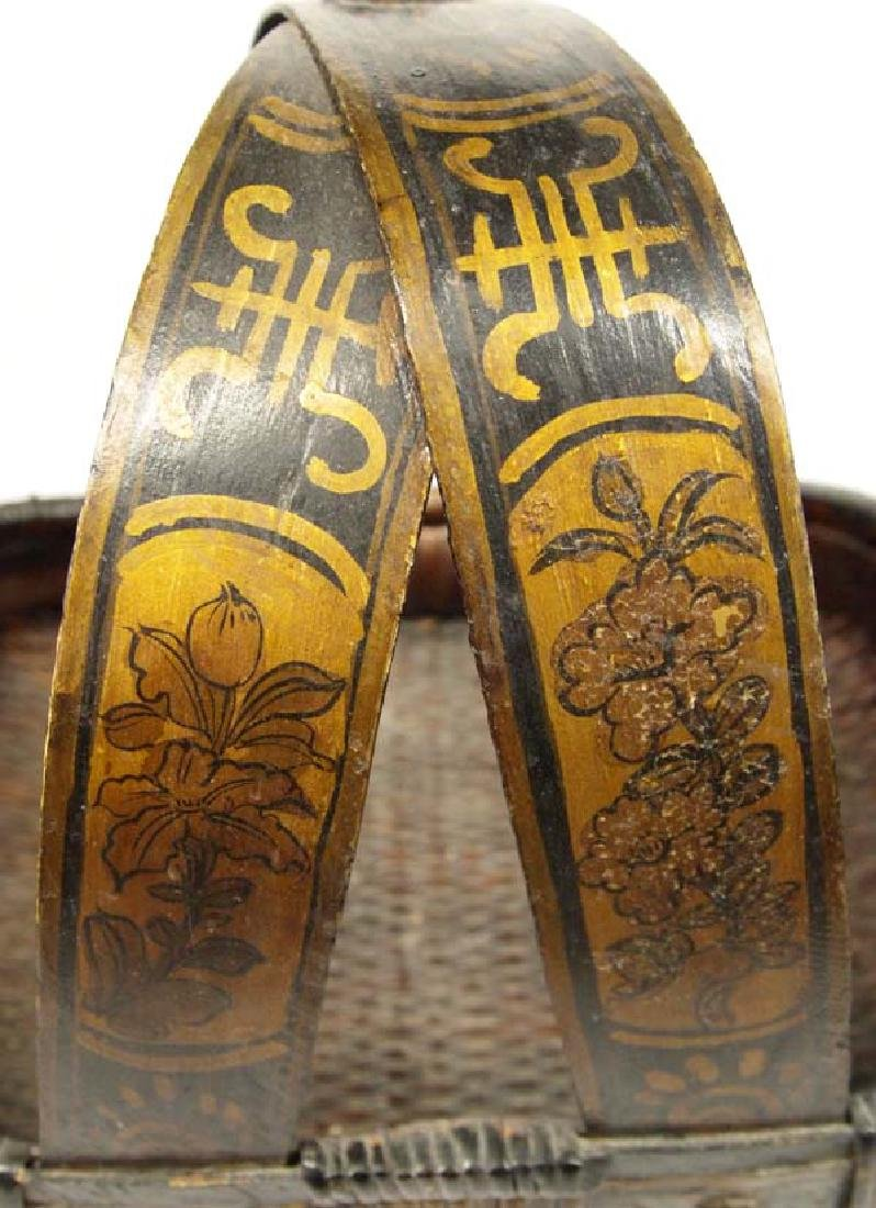 Large Hand Painted Oriental Basket and Slippers - 5