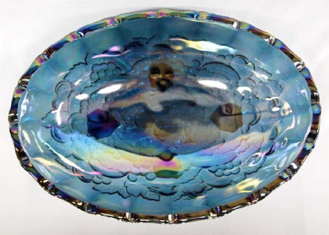 Footed Blue Opalescent Carnival Glass Bowl - 2
