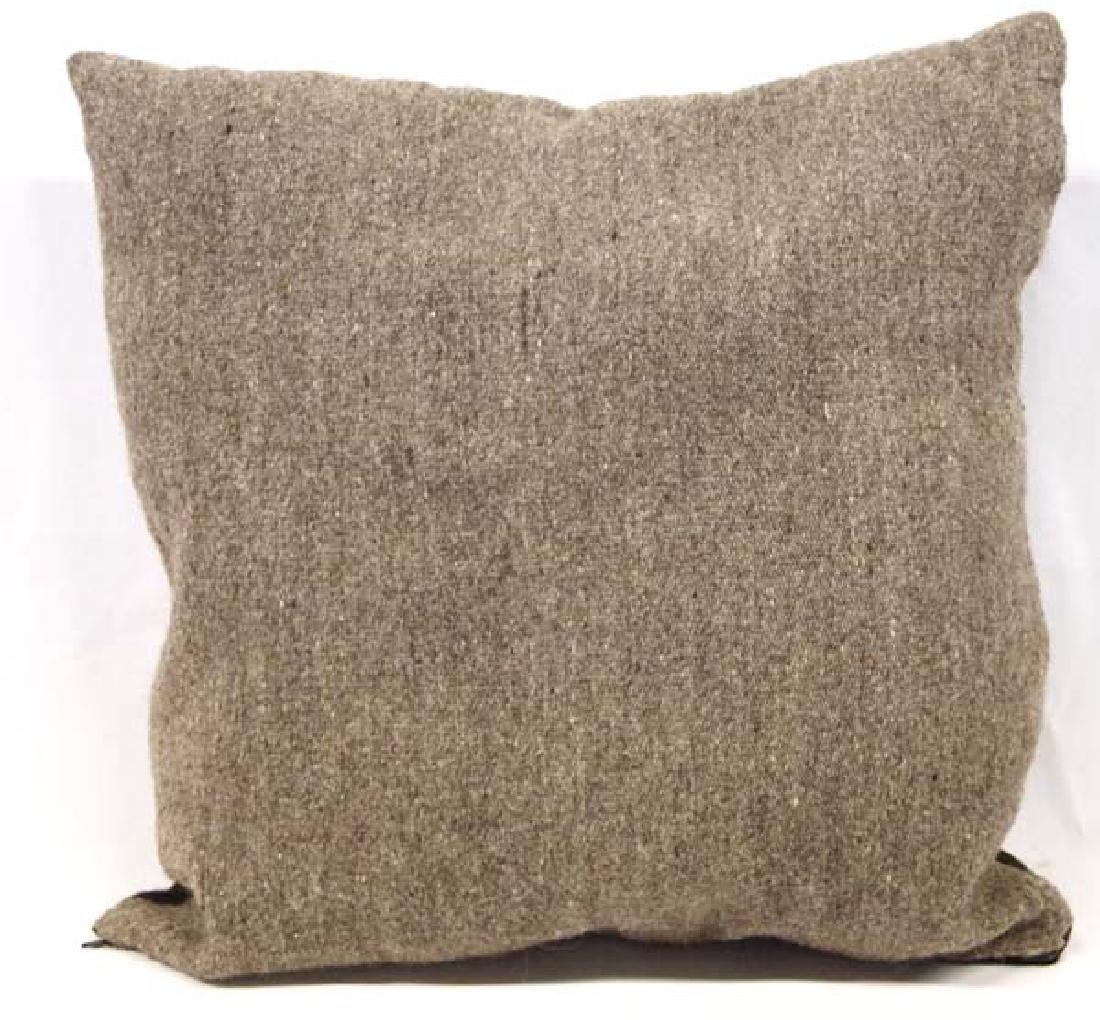 Hand Woven Storm Pattern Wool Pillow - 2