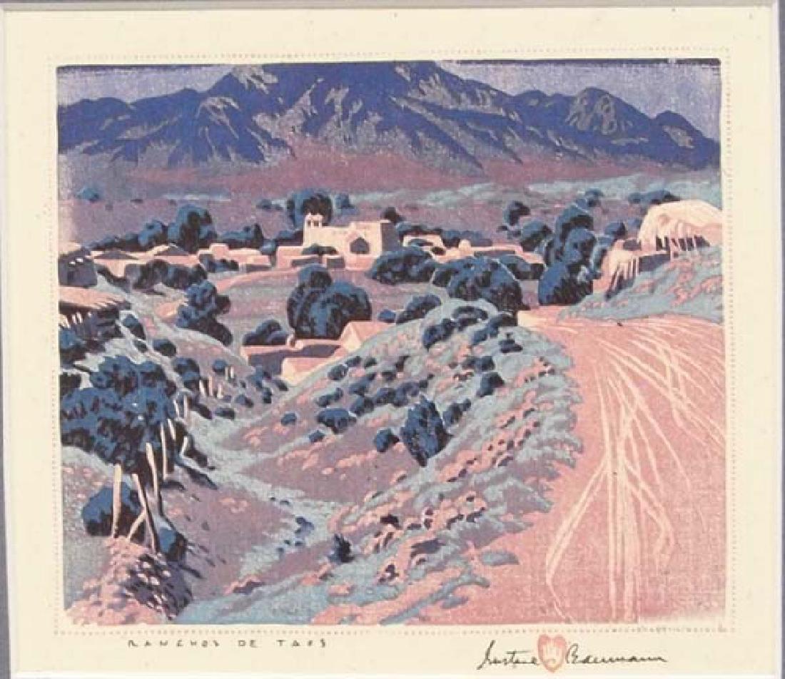 Gustave Baumann Print Ranchos de Taos - 2