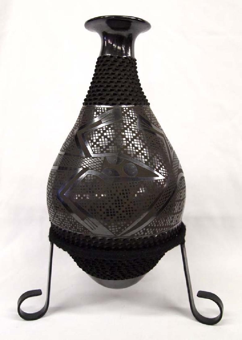 Mexican Mata Ortiz Black on Black Jar by Sandoval