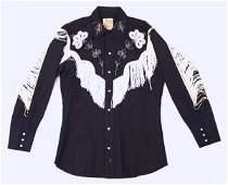 Vintage 1950 Black Fringe Cowboy Shirt by H Bar C