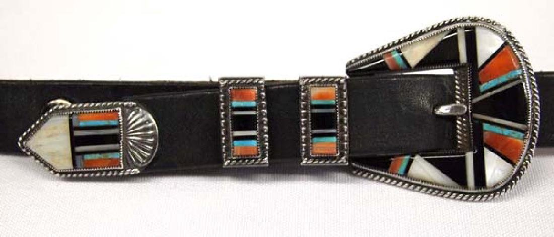Zuni Sterling Inlay Ranger Buckle on Leather Belt