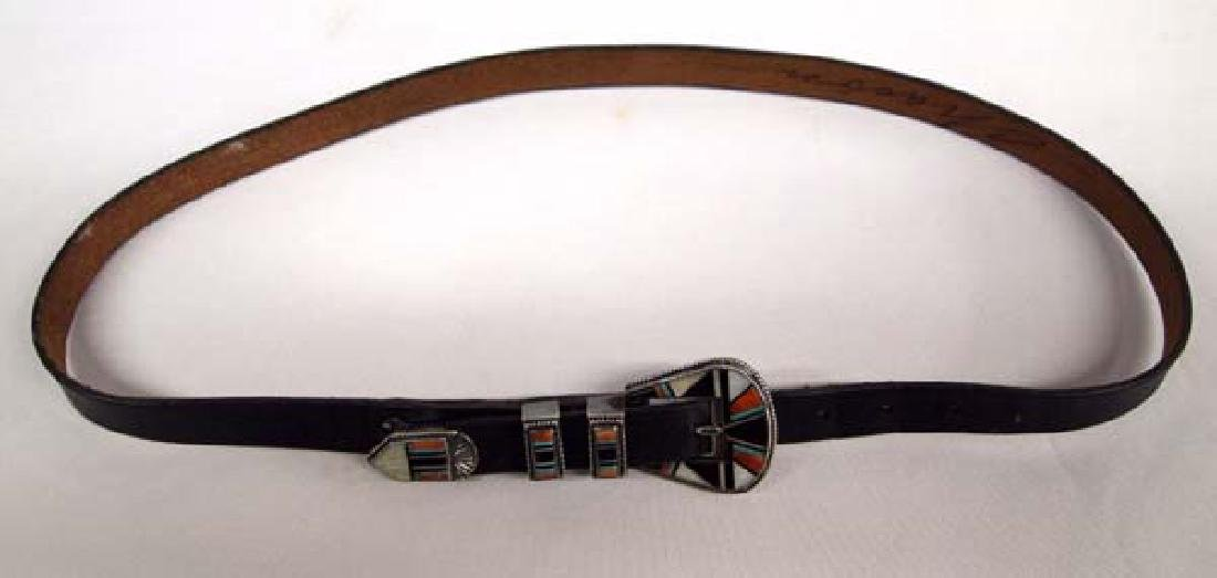 Zuni Sterling Inlay Ranger Buckle on Leather Belt - 2
