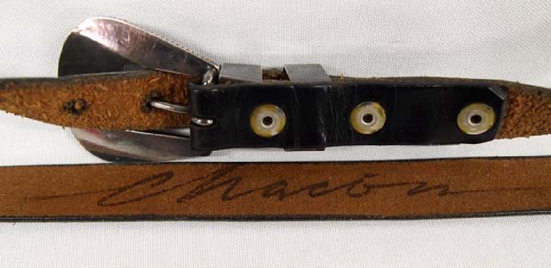 Zuni Sterling Inlay Ranger Buckle on Leather Belt - 3