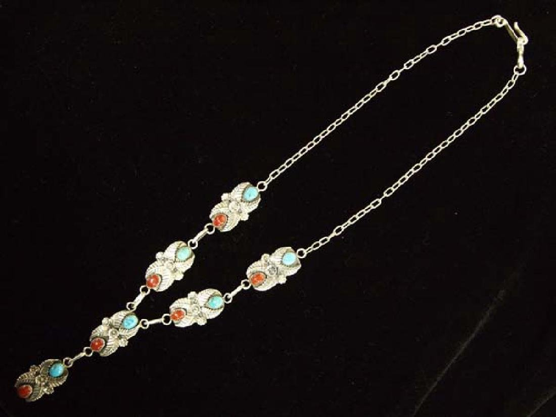 Native American Navajo Sterling Turquoise Necklace - 2