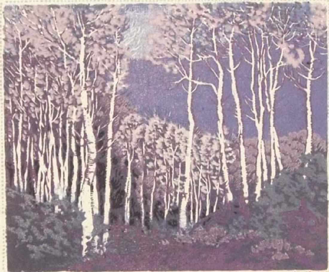 Gustave Baumann Aspen Red River Print - 2