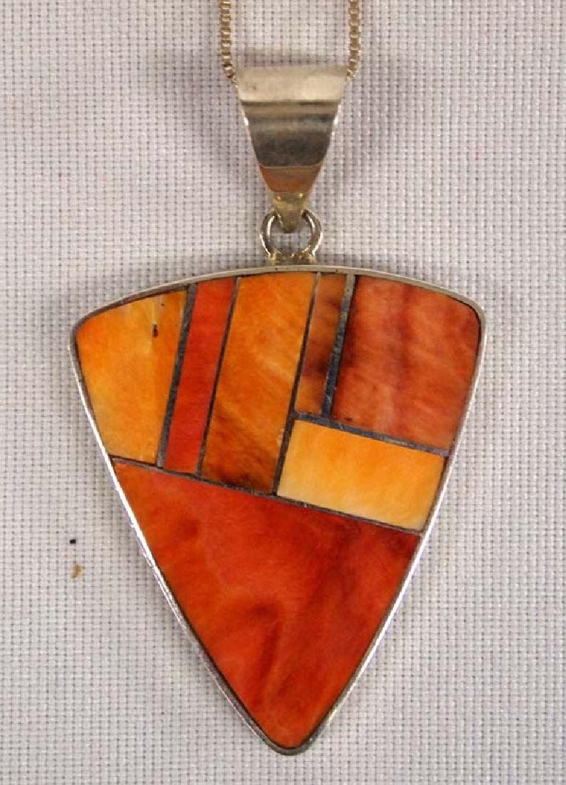 Navajo Silver & Red Shell Inlay Necklace by Smith