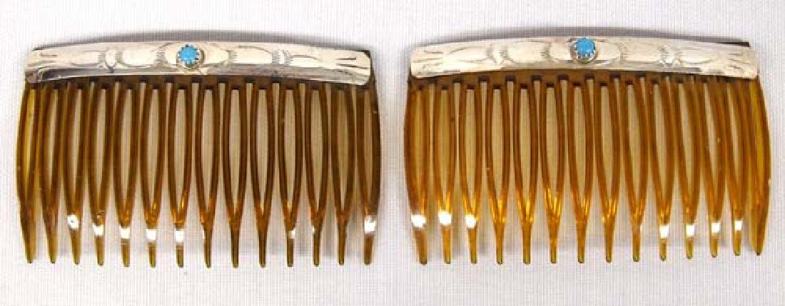 Navajo Sterling Turquoise Hair Combs