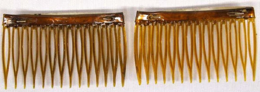 Navajo Sterling Turquoise Hair Combs - 2