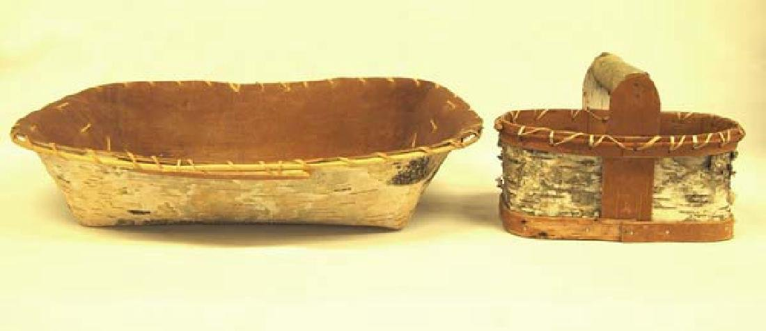 2 Native American Chippewa Birch Bark Baskets