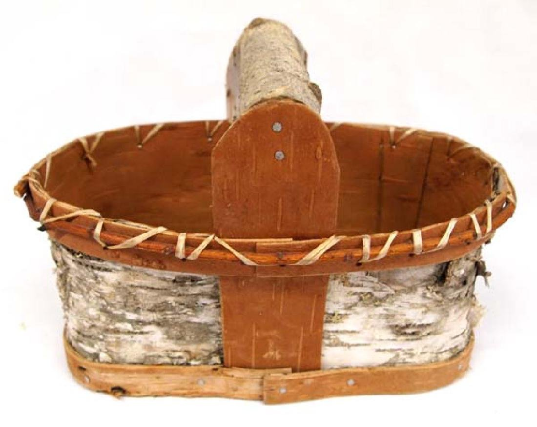 2 Native American Chippewa Birch Bark Baskets - 4
