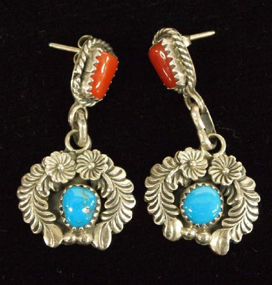 Native American Navajo Sterling Turquoise Earrings