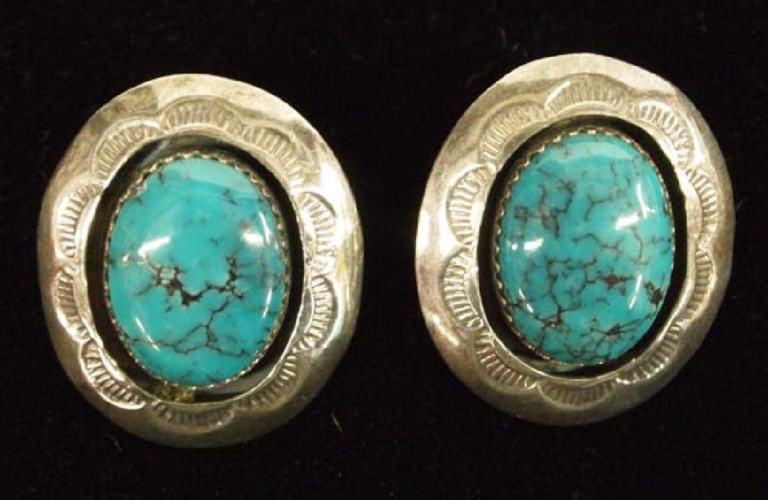 Native American Navajo Sterling Turquoise Earrings