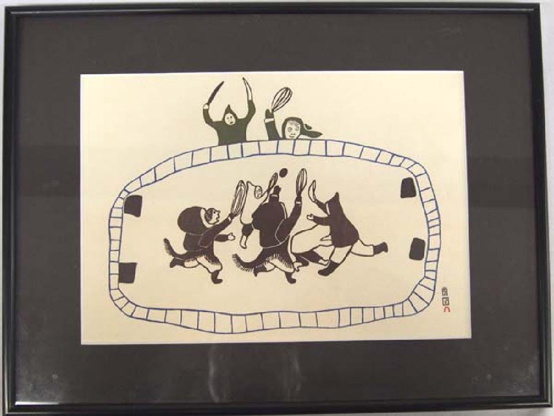 Inuit ''Ball Game'' Print by Napachie Pootoogook