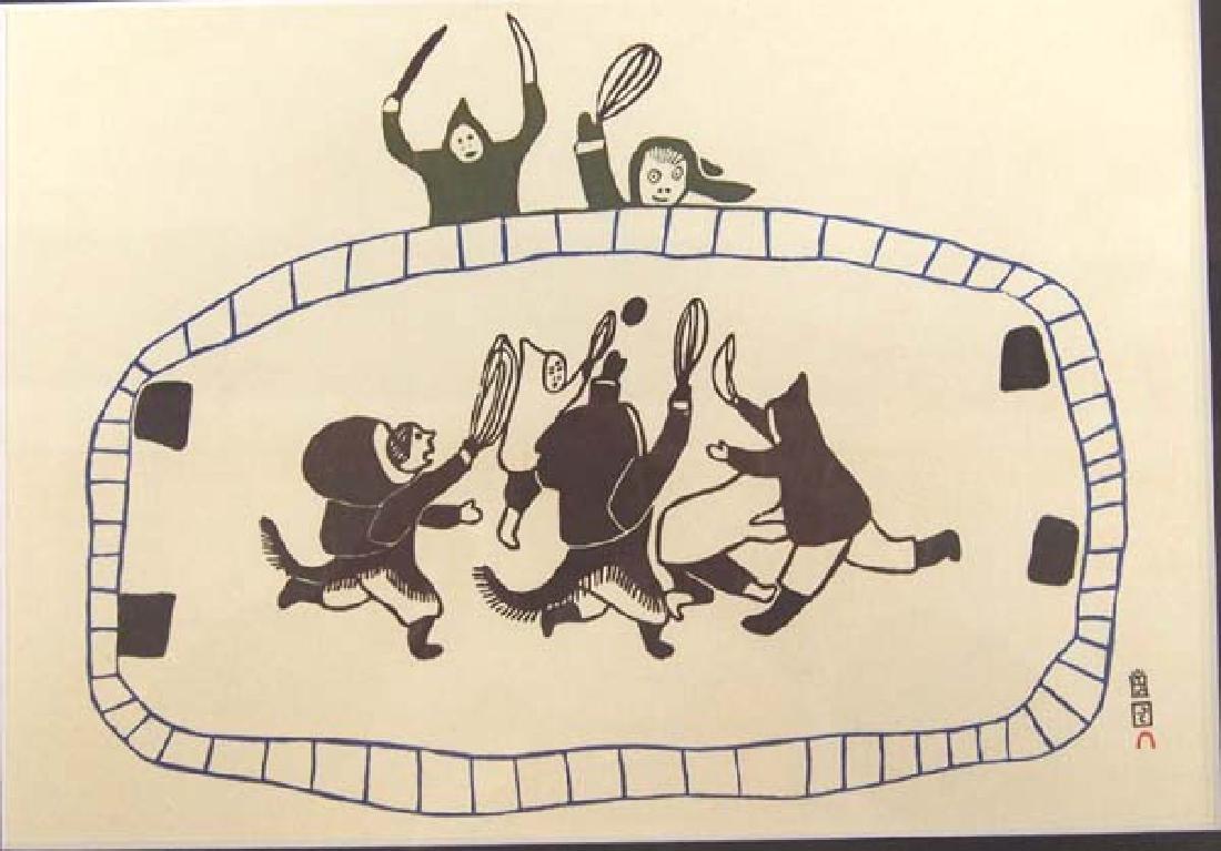 Inuit ''Ball Game'' Print by Napachie Pootoogook - 2