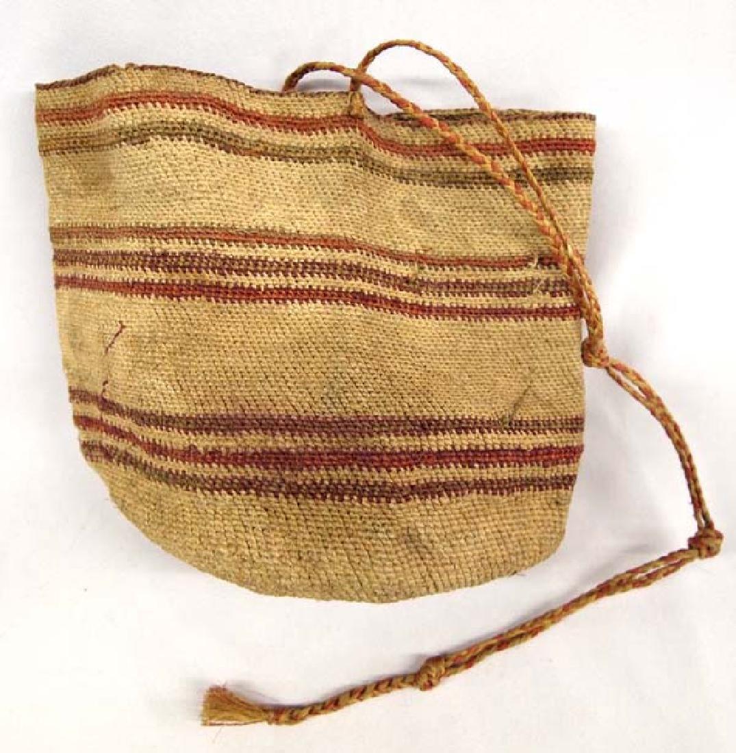 Antique Northwest Coast Washoe Sally Basketry Bag
