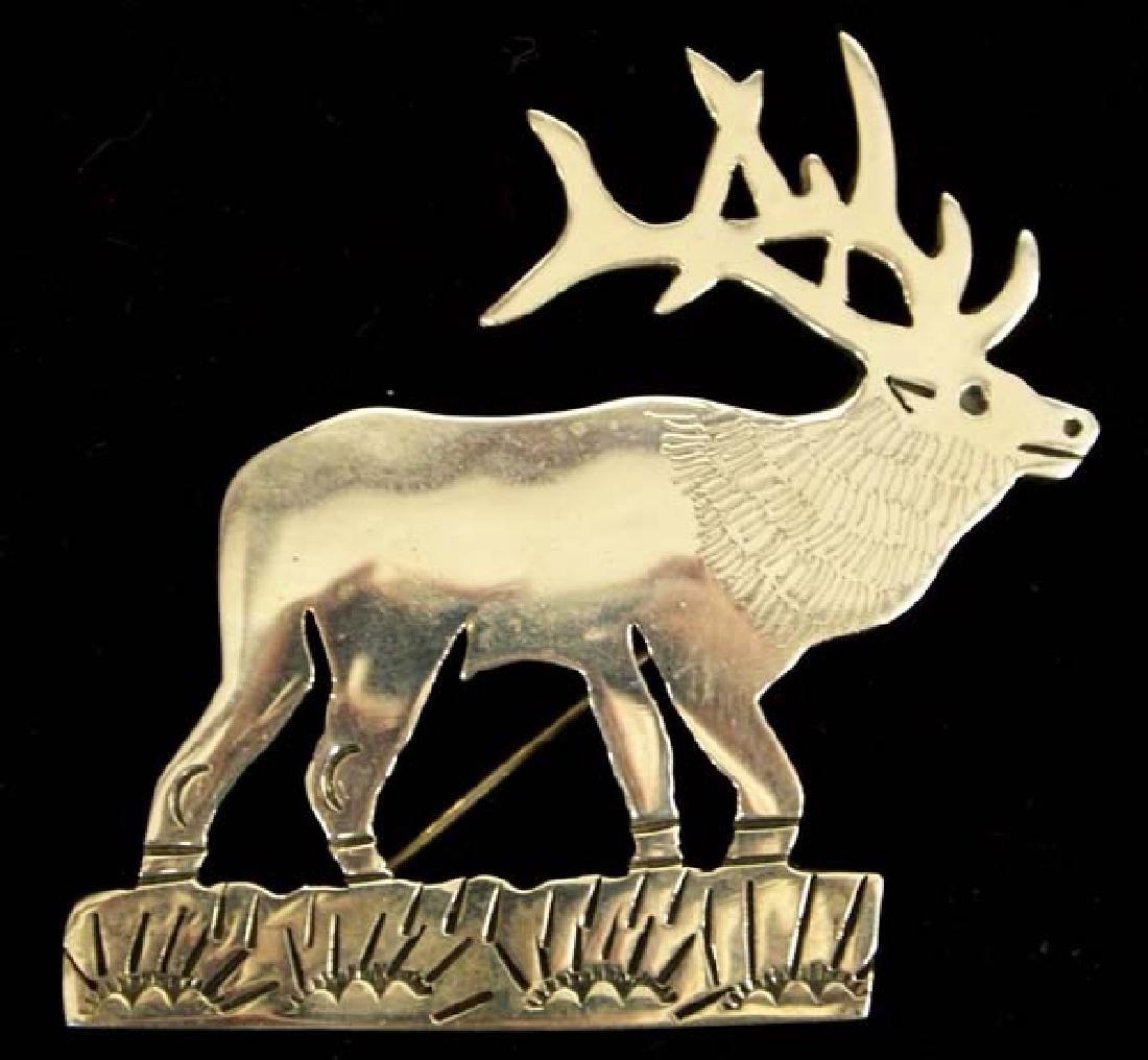 Native American Navajo Sterling Silver Elk Pin
