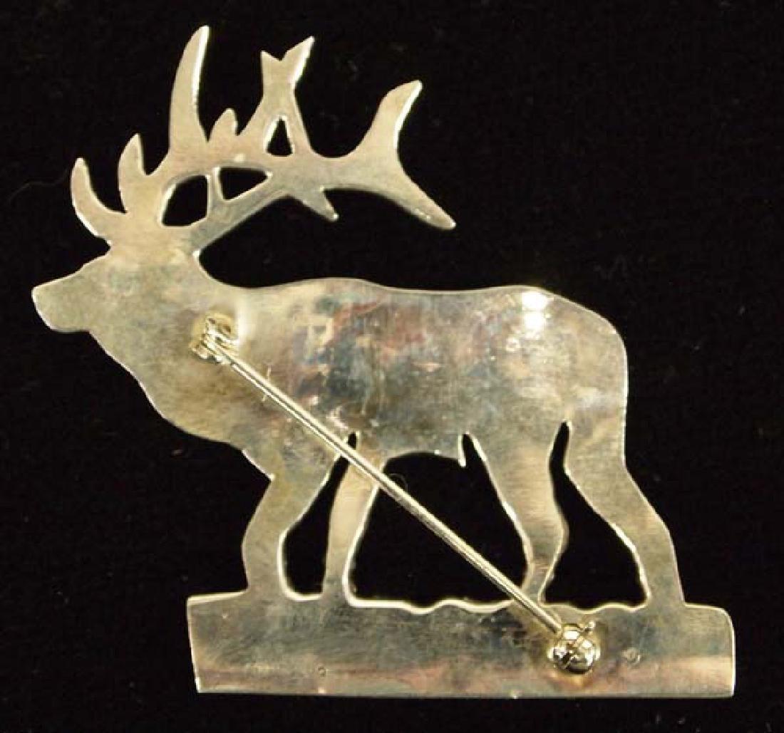 Native American Navajo Sterling Silver Elk Pin - 2