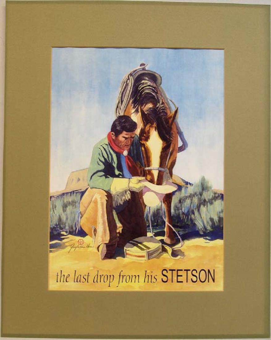 Signed Stetson Advertising Print, Gayle Van Horn