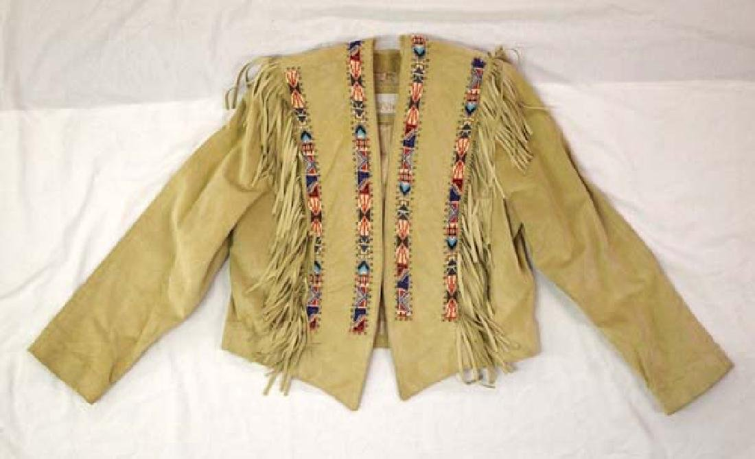 California Style Beaded Suede Cowgirl Jacket Sz 10
