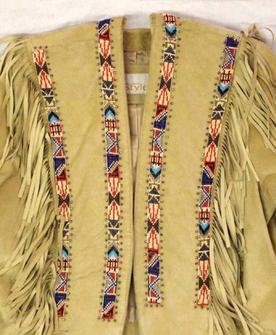 California Style Beaded Suede Cowgirl Jacket Sz 10 - 2