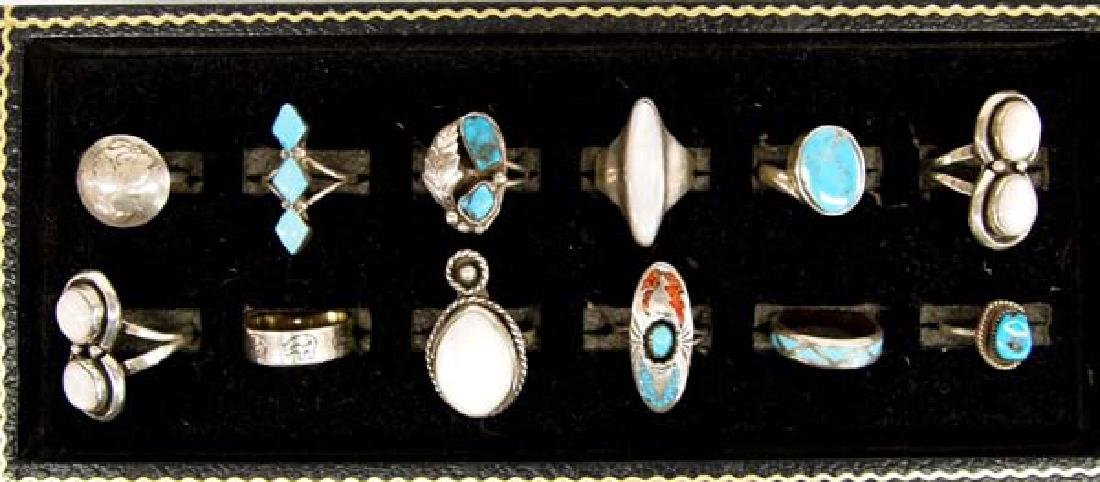 12 Native American Sterling Silver Rings