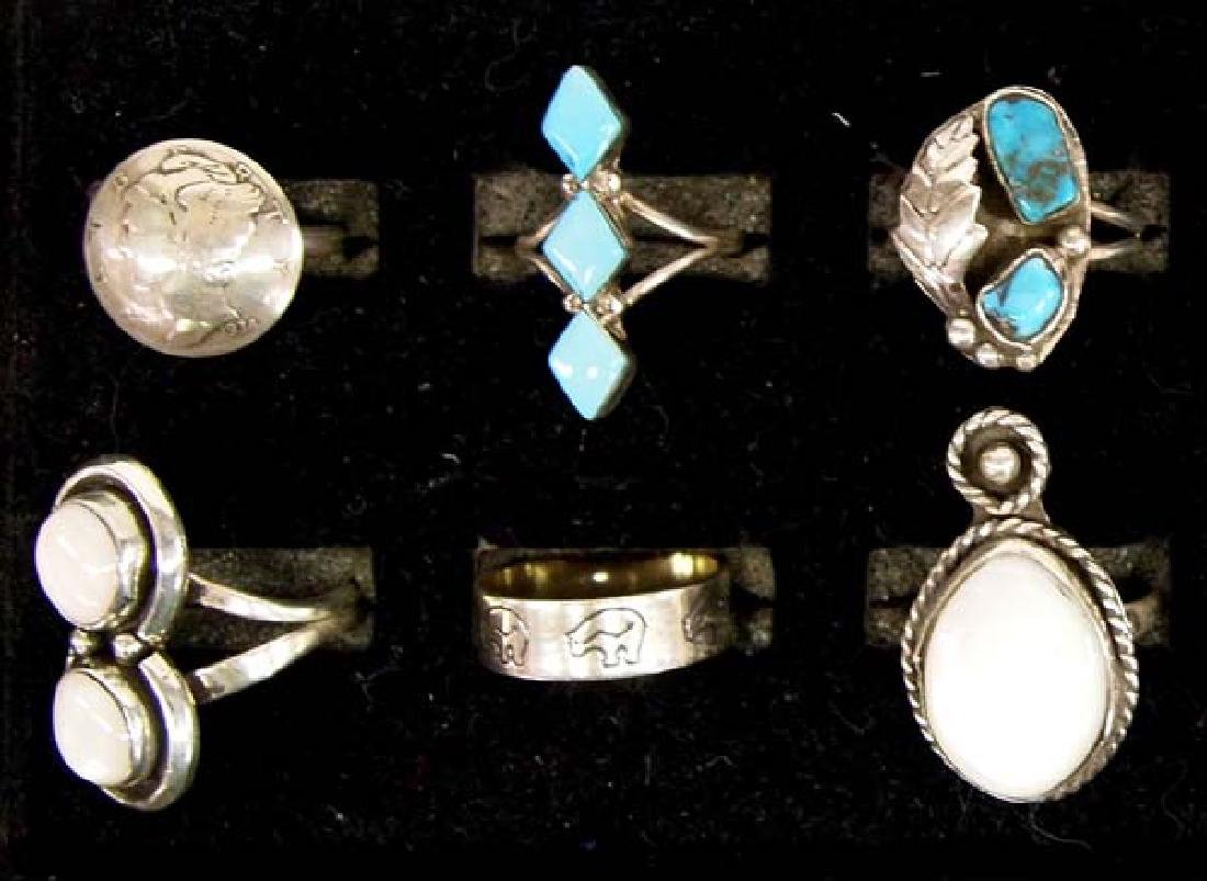 12 Native American Sterling Silver Rings - 3
