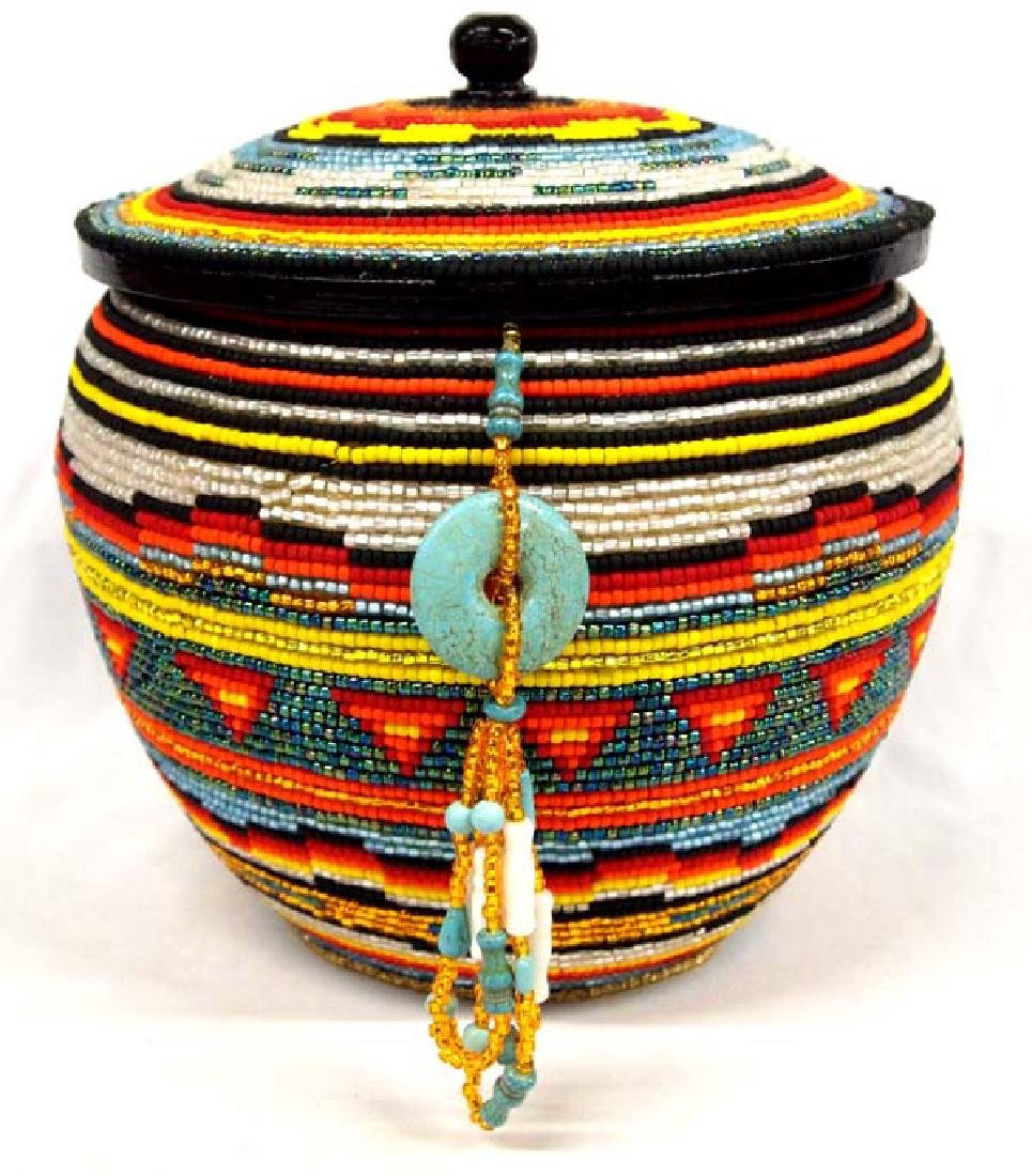 Large Hand Beaded Lidded Wood Jar by Kills Thunder