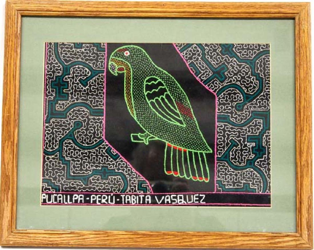 Framed Shipibo Peruvian Embroidered Parrot Textile