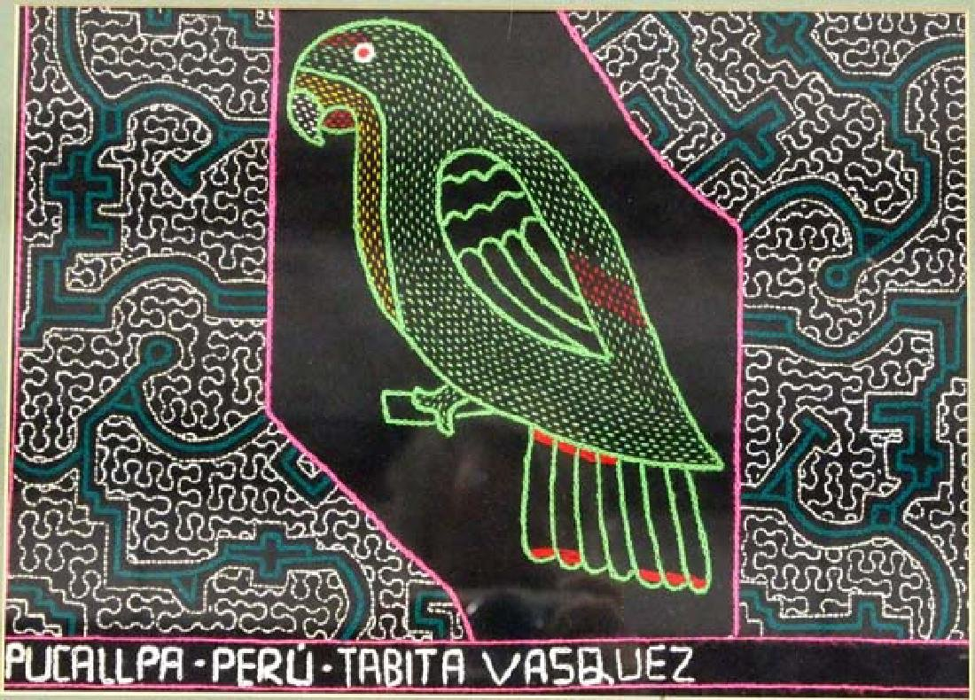 Framed Shipibo Peruvian Embroidered Parrot Textile - 2