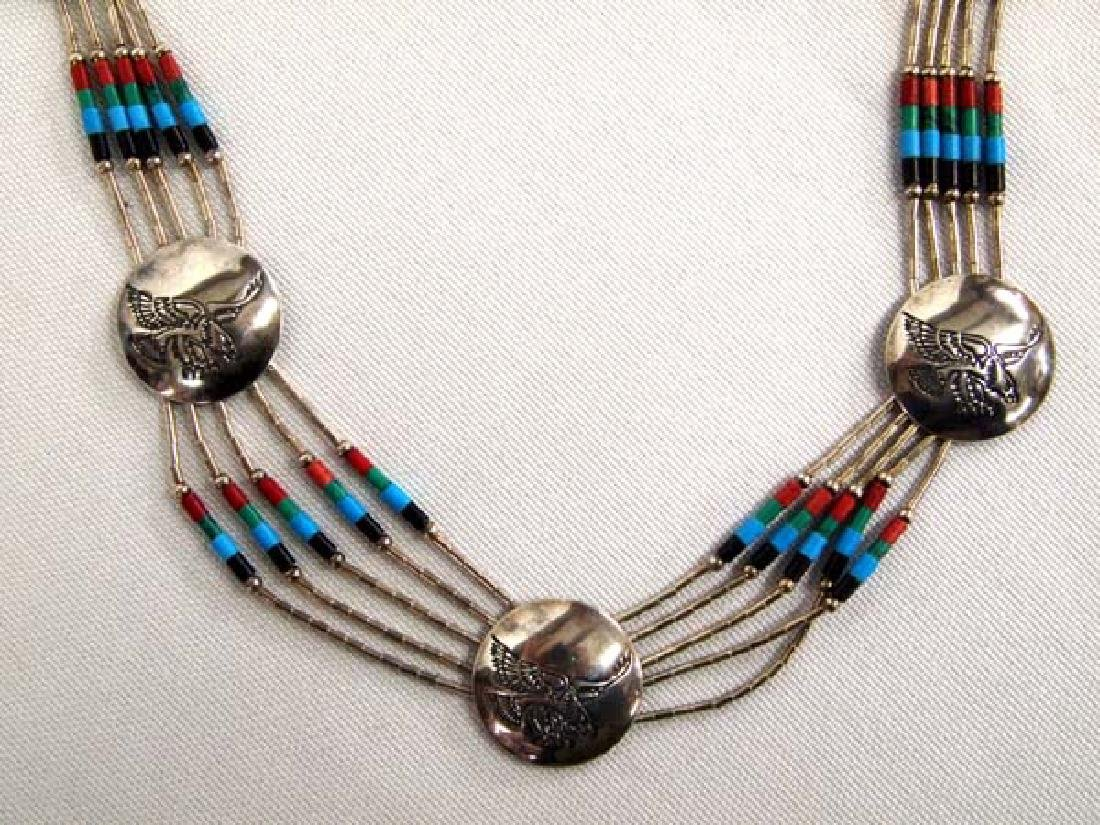 Zuni Liquid Silver and Bead Necklace