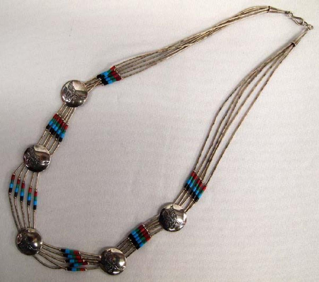 Zuni Liquid Silver and Bead Necklace - 2