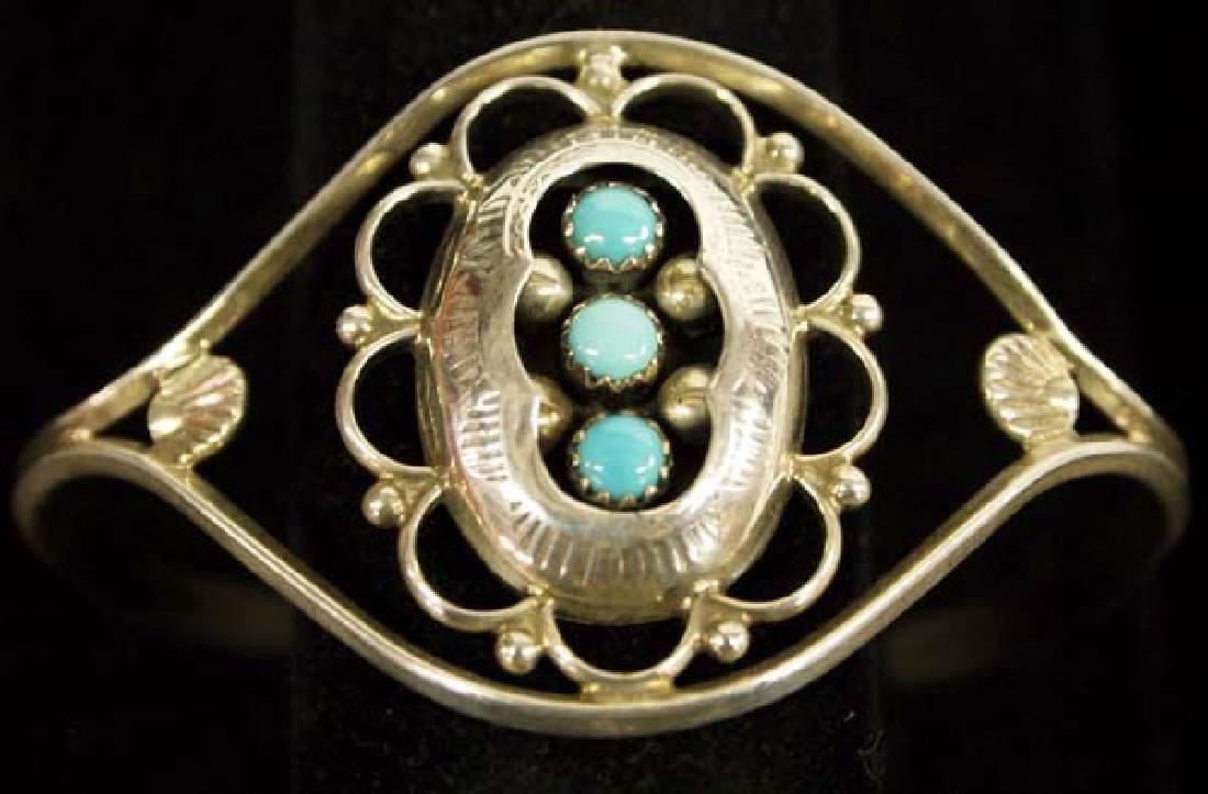 Zuni Old Pawn Sterling Turquoise Bracelet