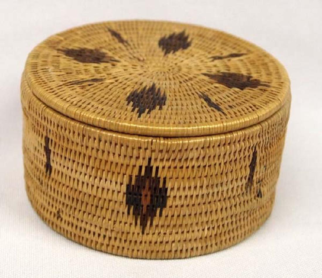 Native American Two Toned Single Rod Lidded Basket