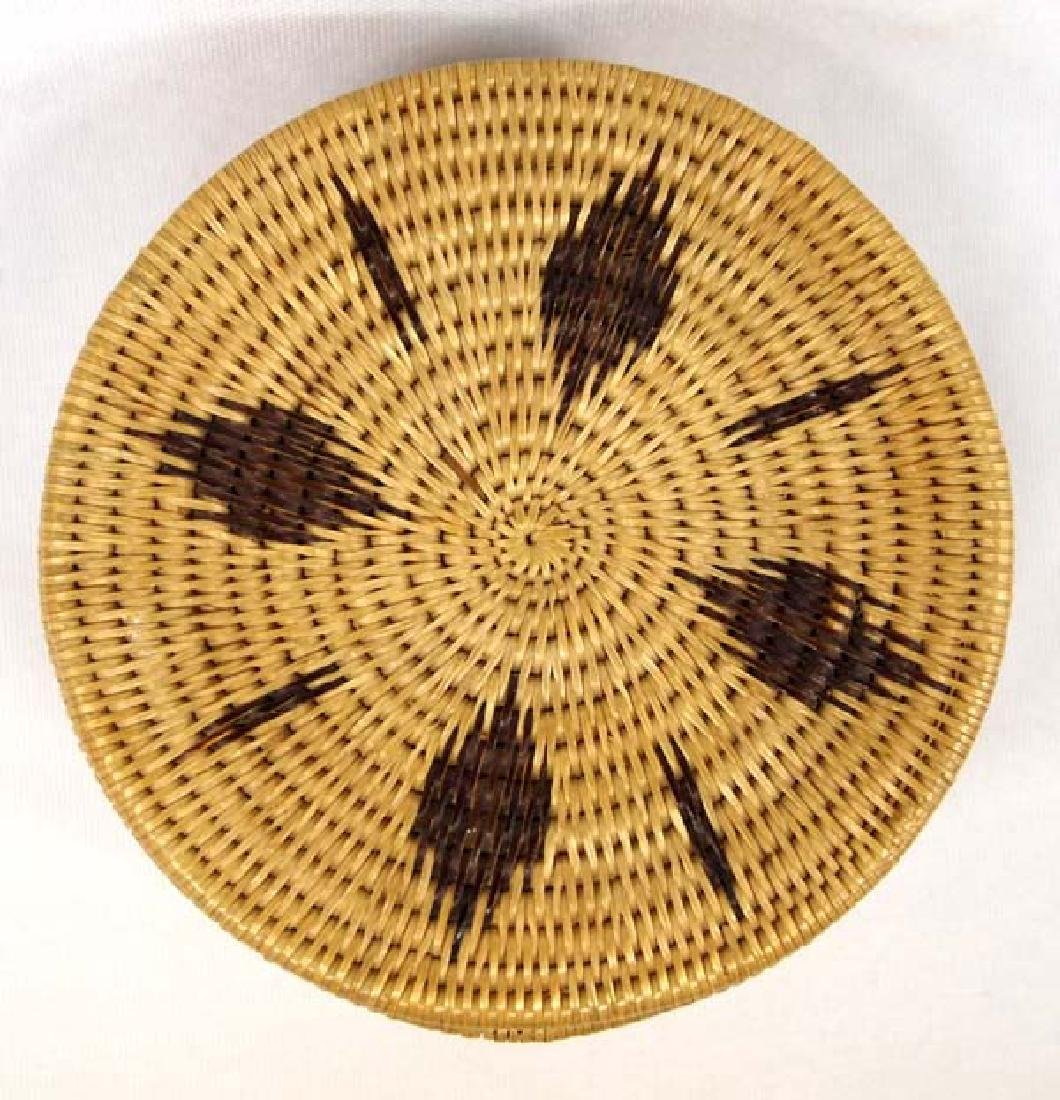 Native American Two Toned Single Rod Lidded Basket - 2
