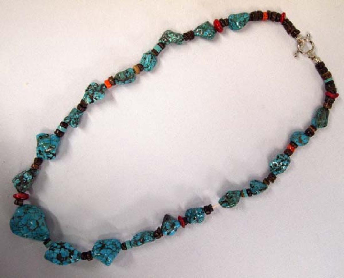 Southwestern Kingman Turquoise Nugget Necklace - 2