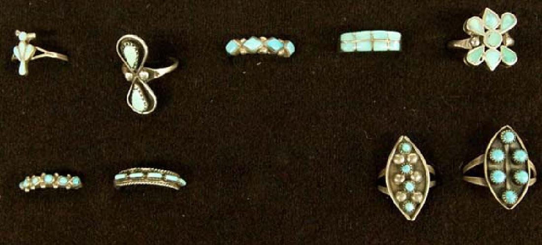 9 Native American Zuni Sterling Turquoise Rings