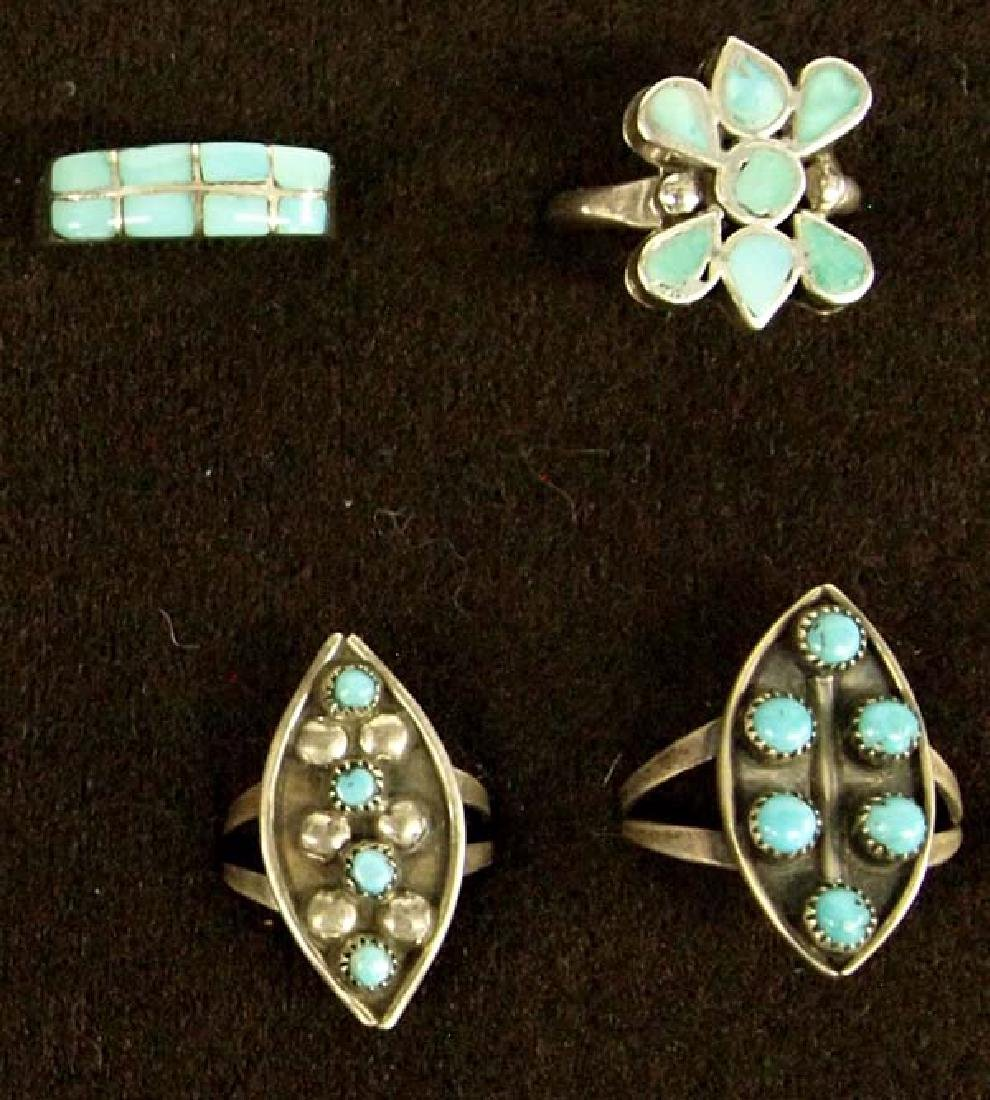9 Native American Zuni Sterling Turquoise Rings - 2