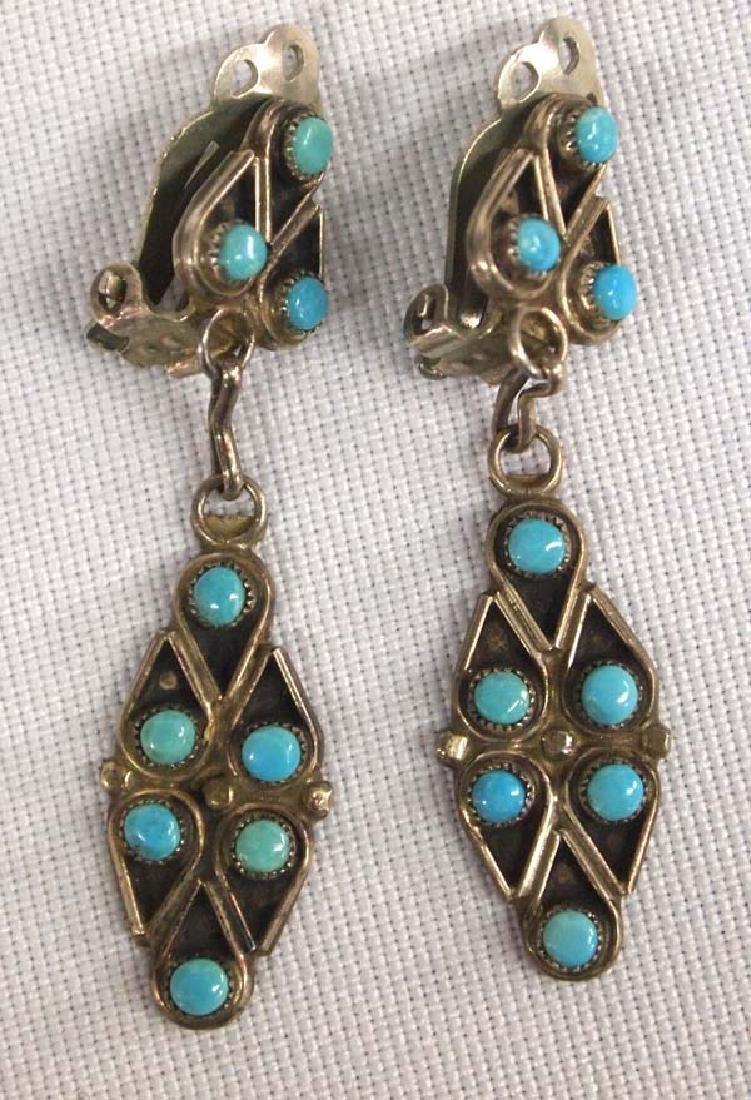 1960 Estate Zuni Silver Turquoise Earrings