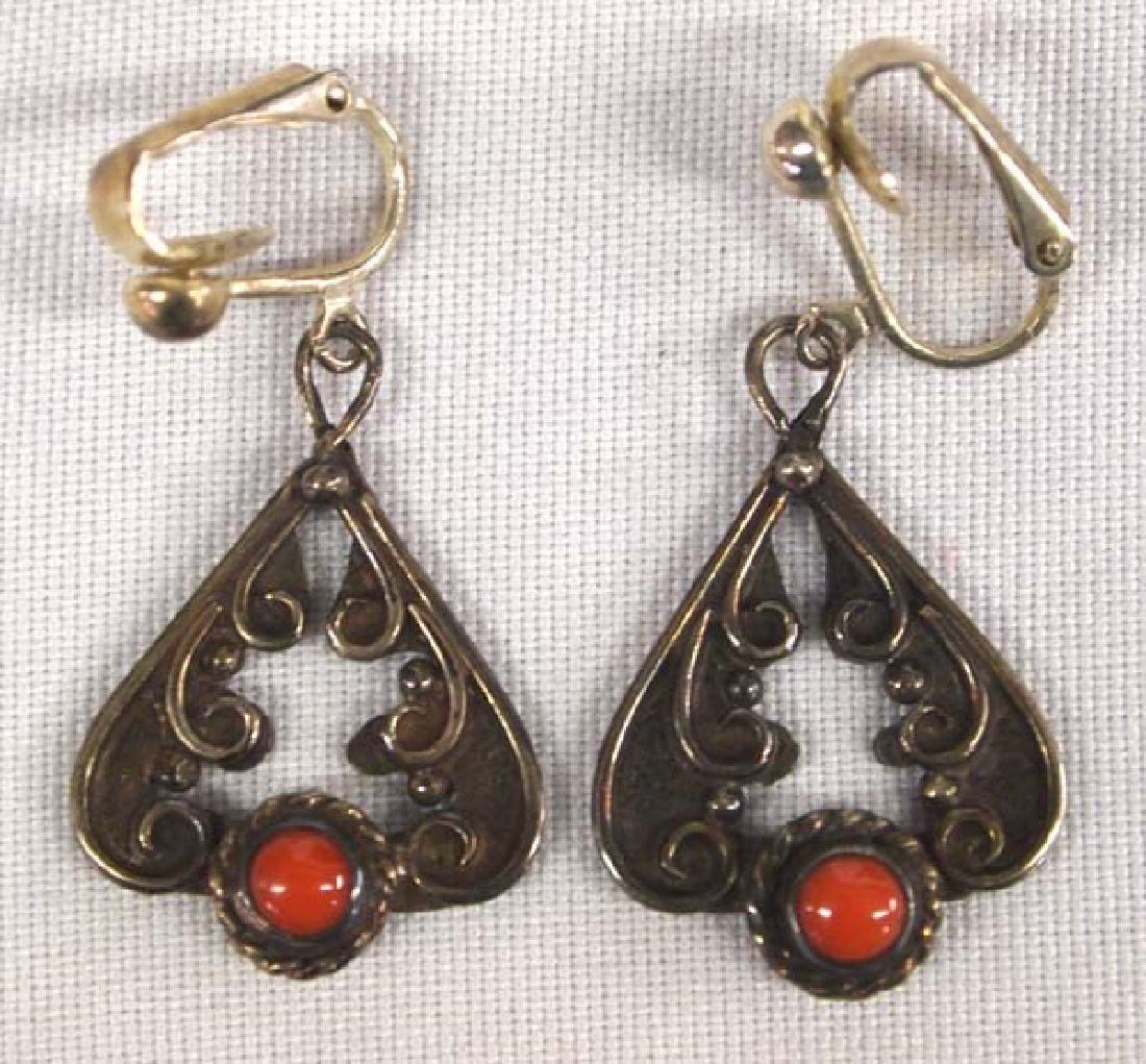 Estate Navajo Sterling Coral Leverback Earrings