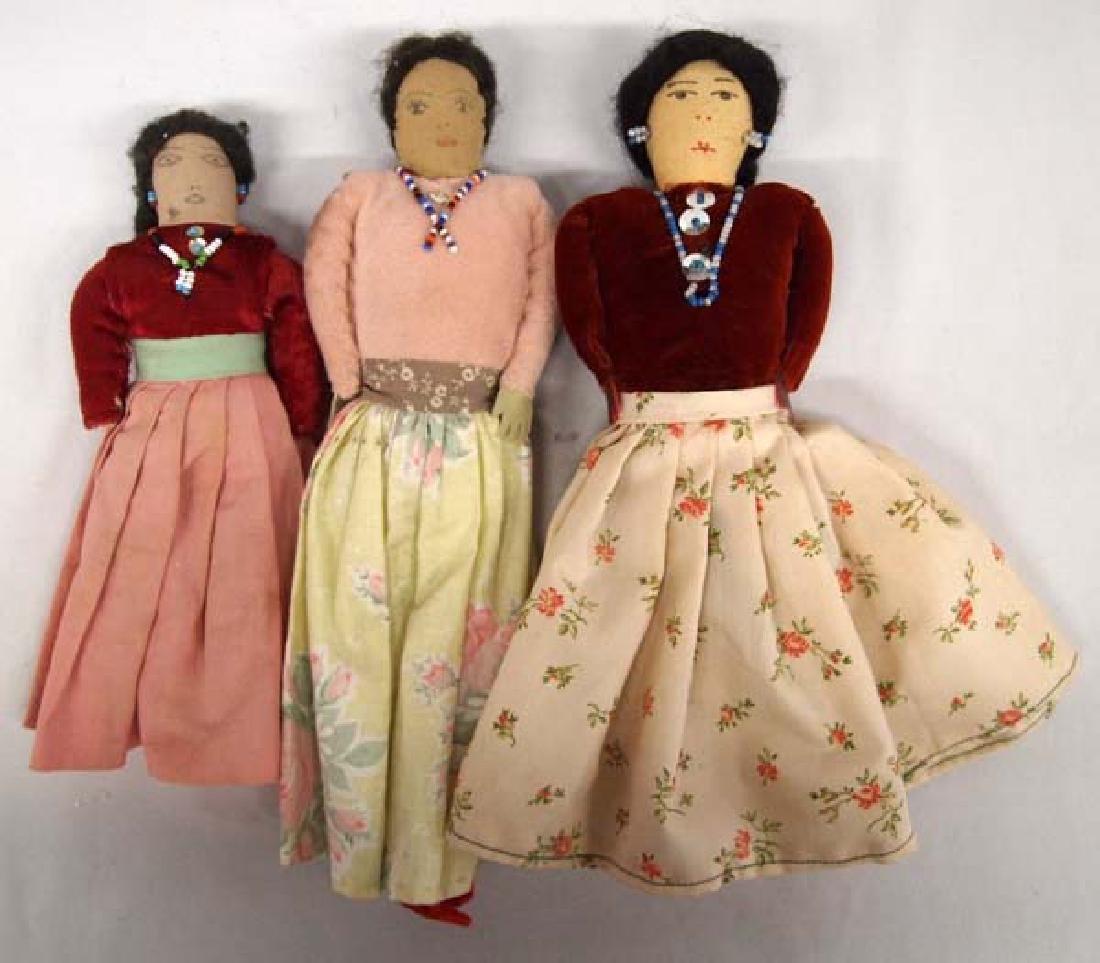 3 Vintage Native American Navajo Cloth Dolls