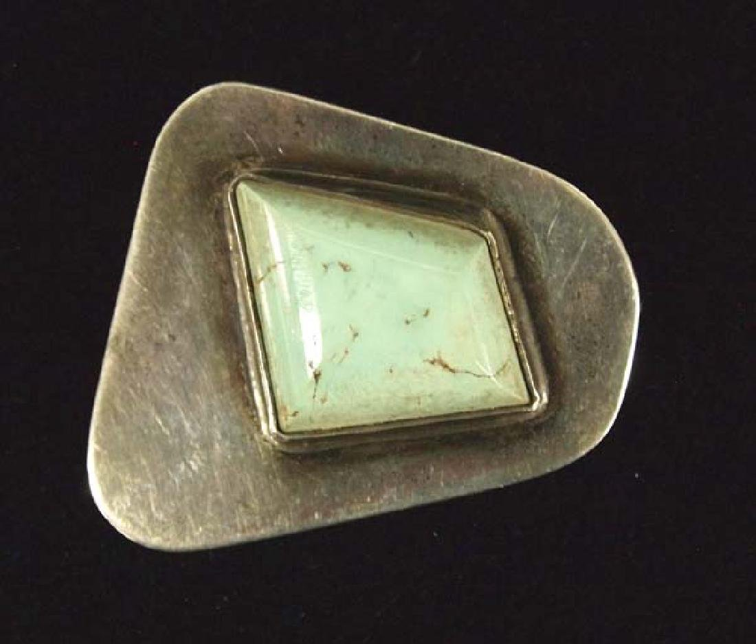 Vintage Estate Mexican Taxco Silver Turquoise Pin