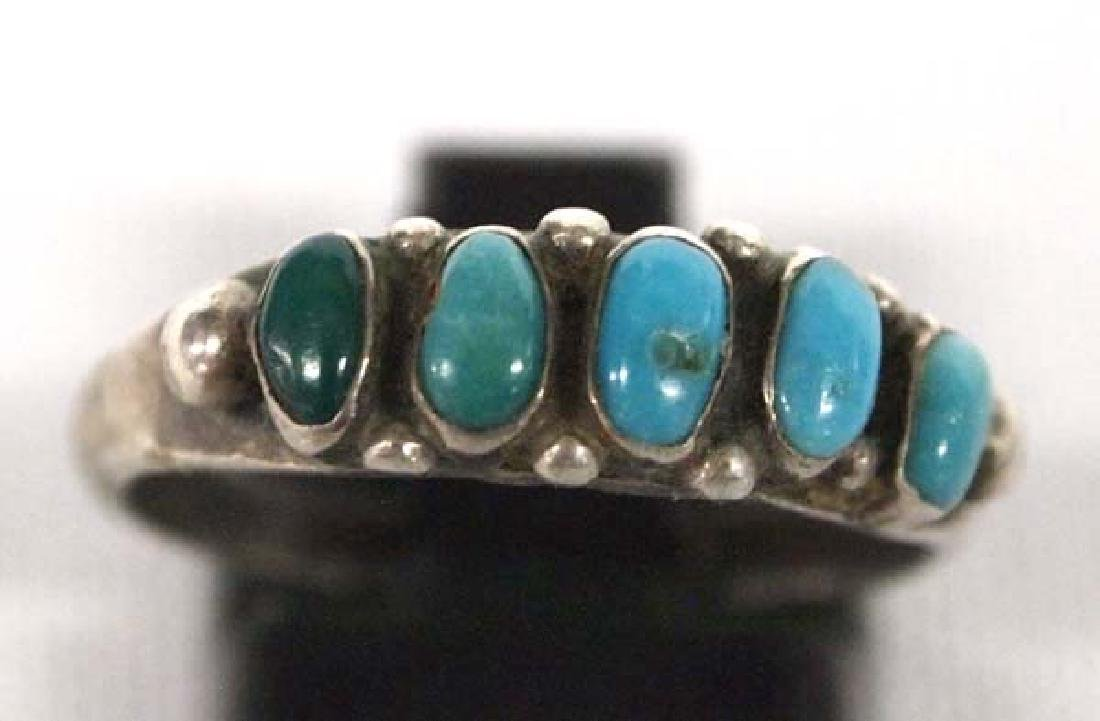 Zuni Sterling Petit Point Turquoise Ring, Sz 7.75