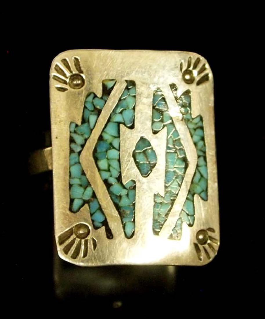 Navajo Sterling & Chip Inlay Turquoise Ring, Sz 8
