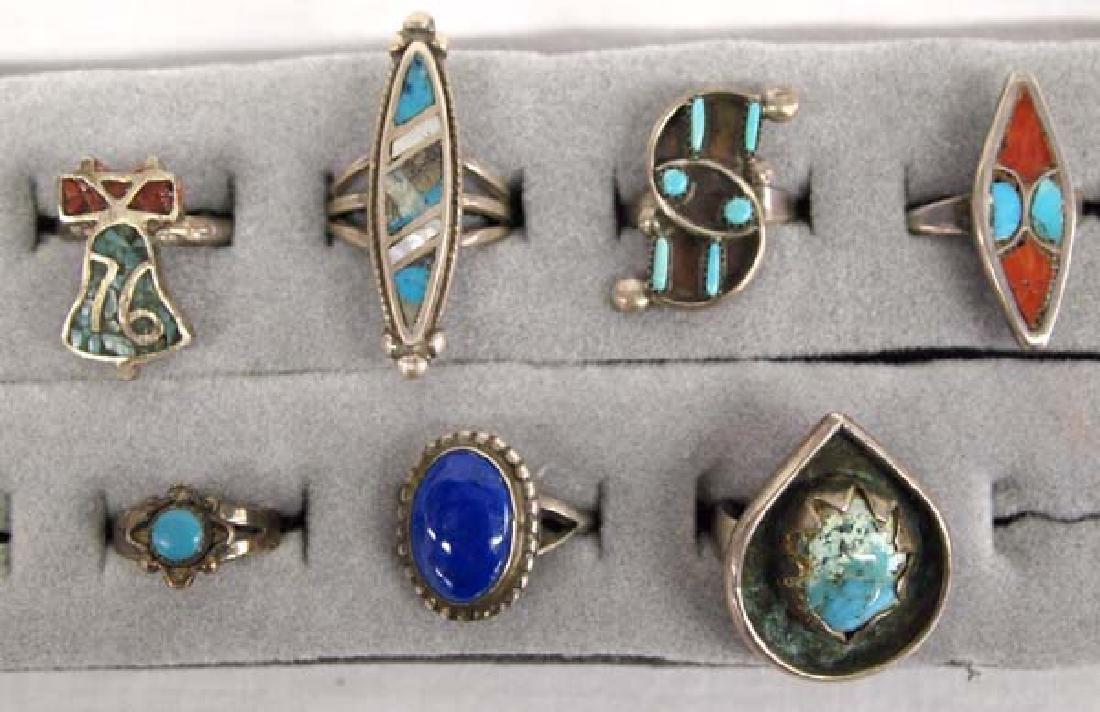 7 Native American Navajo & Zuni Rings