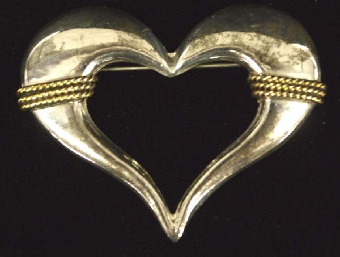Mexican Sterling Silver Heart Brooch